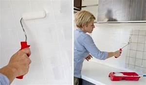 repeindre le carrelage d39une credence de cuisine cote maison With repeindre un carrelage de cuisine