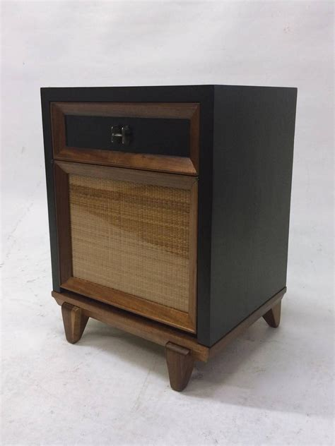 fold out table top two tone and rattan side table or nightstand with fold out