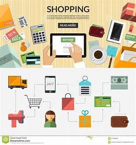 Set Online Shop : online shopping flat concept background banner stock vector image 61388590 ~ Orissabook.com Haus und Dekorationen