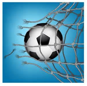 Soccer Ball Breaking through Net