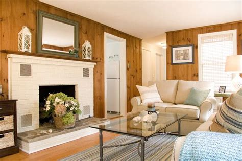 an updated room with knotty pine paneling with white trim knotty pine knotty