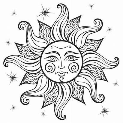 Boho Sun Coloring Astrology Vector Pagan Ethnic