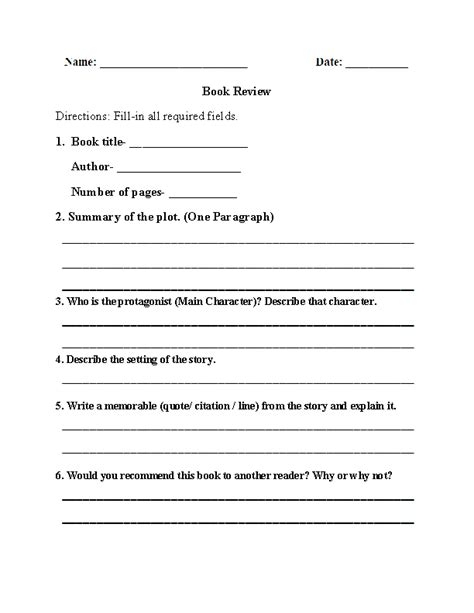 book review book report worksheet  images book