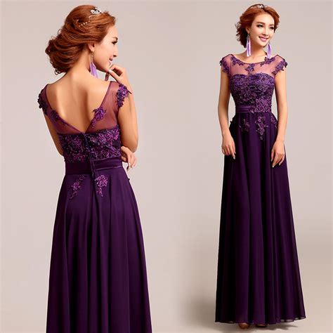Bateau neck deep plum purple chiffon lace A-line evening dress u2013 Red Chinese Dress