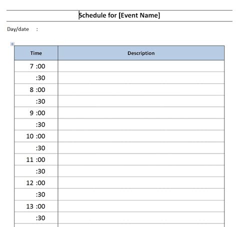 daily schedule template word daily event schedule template free microsoft word templates