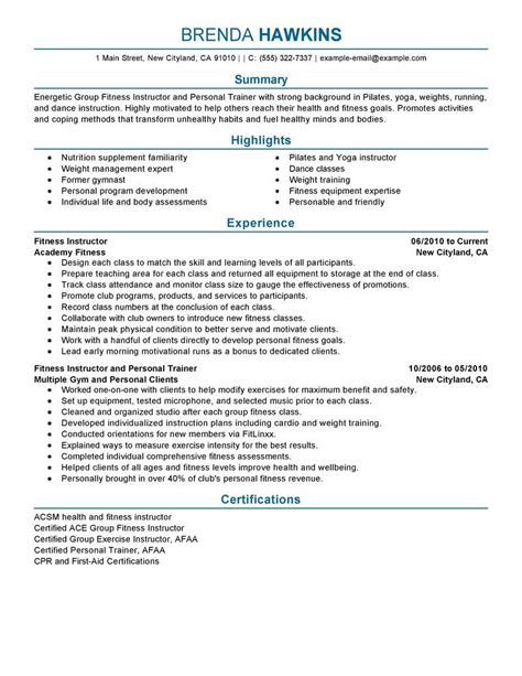 Fitness Resume by Best Fitness And Personal Trainer Resume Exle