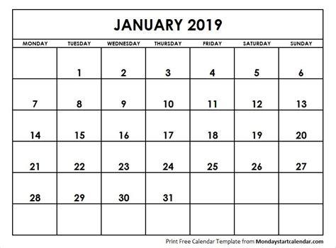 january  calendar starting monday calendar
