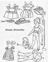 Paper Doll Friend Children Dolls Coloring Printable Belle Result Boo sketch template