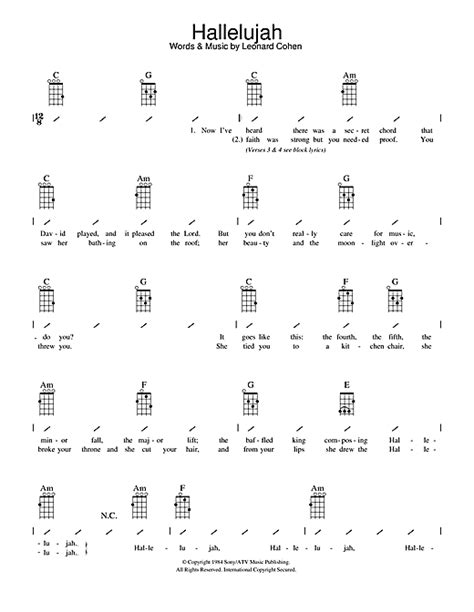 Hey, here i'm going to continue to gather ukulele songs that i find i'm just a beginner learning from the fabulous internet! Hallelujah sheet music by Leonard Cohen (Ukulele with strumming patterns - 108876)