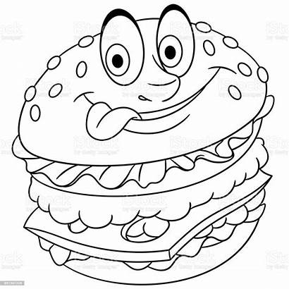 Hamburger Cheeseburger Burger Cartoon Fast Sheet Ausmalen