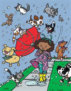 raining cats and dogs childrens print cats dogs graphic by hoddleypoddley