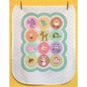 "Baby Hugs Happi Woodland Quilt Stamped Cross Stitch Kit-34""X43"""