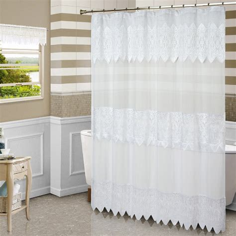 lace shower curtains white batiste sheer