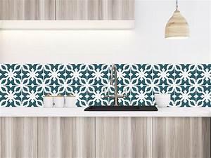 Crédence Carreaux De Ciment Adhesif : cr dence adh sive carreaux de ciment castiglione bleu p trole ~ Premium-room.com Idées de Décoration
