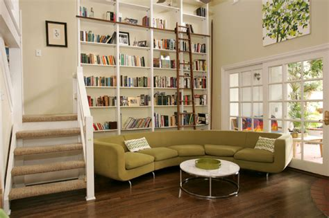 Living Room Library by Brentwood Contemporary Library Remodel Contemporary