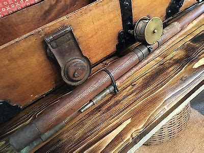 1800s fishing rod brass reel old sporting tackle home cottage decor primitives