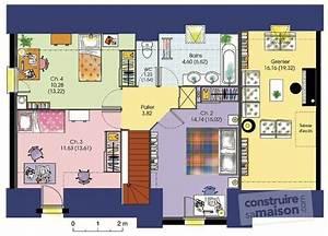 super plan maison plain pied 120m2 3 chambres xy98 With exceptional plan maison en l 100m2 7 plans de maisons constructeur deux savres
