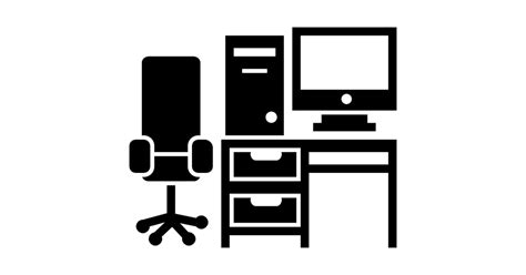 Office Desk Icon by Studio Desk With Table Chair Computer Tower And Monitor