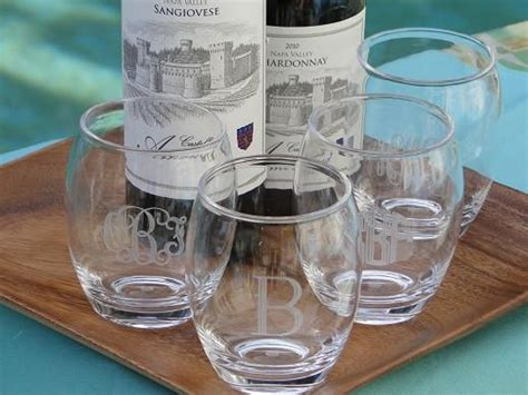 Monogrammed Acrylic Stemless Wine Glasses