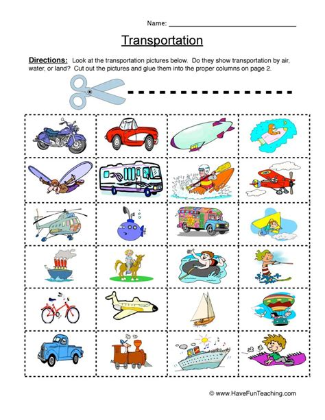 Transportation Worksheets Kindergarten  Smart Kids Worksheets Transportationworksheets On