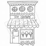 Ice Cream Hand Drawn Drawing Clipart Boutique Coloring Buildings Zeichnen Shops Drawings Basteln Bakery Digi Muster Gezeichnet Schoene Applikationen Ladenfront sketch template