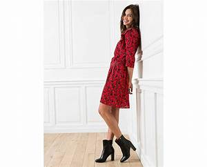 robe rouge fleurie a petits volants boots a talons hauts With robe rouge fleurie