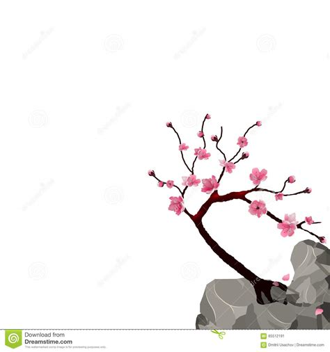 Blooming Japanese Sakura Pink Cherry Tree On A Cliff