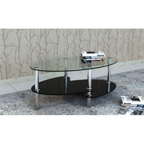 table table de salon table basse ovale noir en verre pour tables