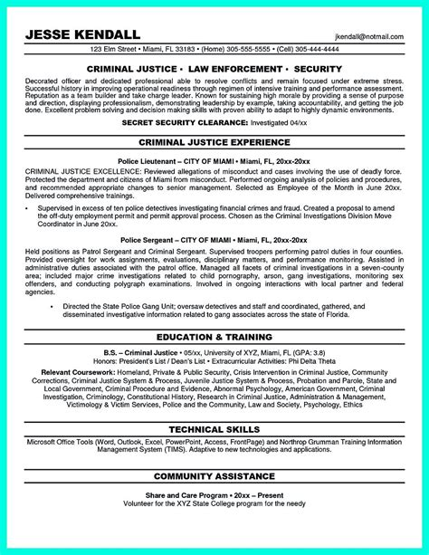 criminal justice resume uses summary section of the