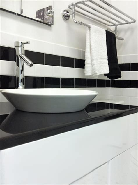 subway tile classic bathroom with vessel sink update