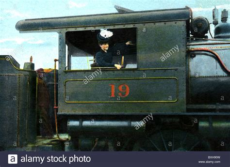 Locomotive With Woman As Engine Driver Stock Photos