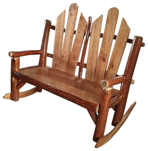 rustic sassafras seat fanback rocking chair