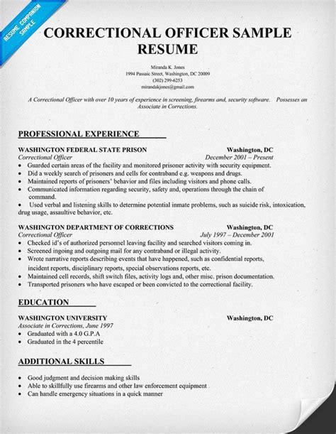 correctional officer resume sample resume companion