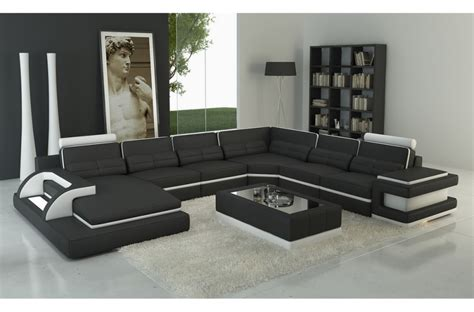 canapé d 39 angle en cuir italien 7 8 places bestof noir et