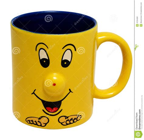 Blue Yellow Cup With Smiling Face , Isolated On Stock Photo   Image: 47254581