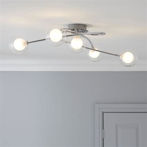 bistra glass chrome effect 5 l ceiling light