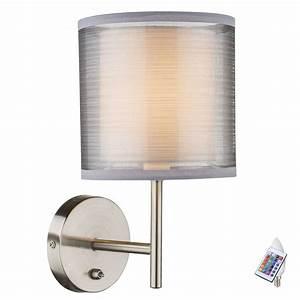 Lampe Grau Stoff : rgb led wand leuchte esszimmer stoff lampe grau schalter dimmer fernbedienung ebay ~ Indierocktalk.com Haus und Dekorationen