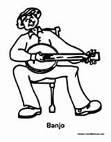 Banjo Playing Coloring Boy Pages sketch template
