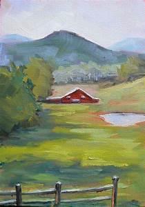 farm landscape painting barn painting impressionist