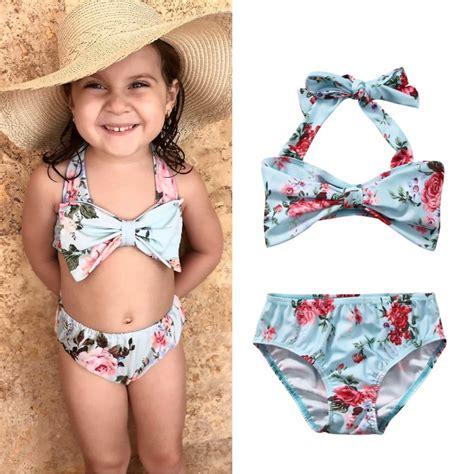 adorable kids girls clothing set floral bikini set