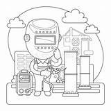 Welder Cartoon Coloring Profession Welds Structures Construction Character Illustrations Vectors sketch template