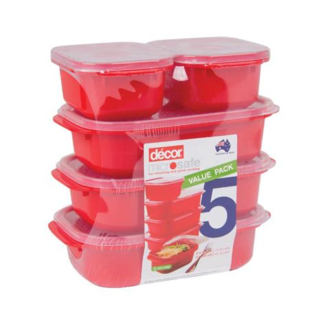 decor microsafe containers  pack red big