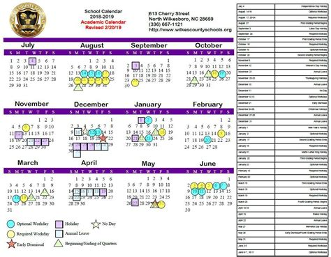 district calendars district wilkes county schools