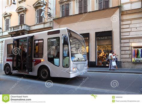small bus   streets  rome italy stock photo