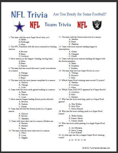 nfl mega fan quiz monday night football are you ready for some football