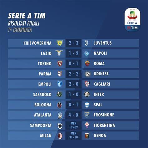 Serie A by Serie A 2018 2019 1a Giornata Risultati E Classifica