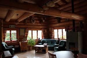 salon maison bois rond 2jpg With maison en bois interieur