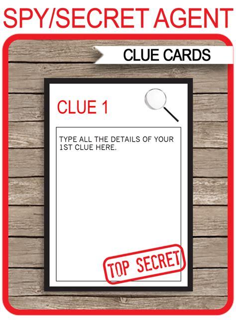 spy party treasure hunt clue cards template simonemadeit