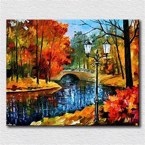 aliexpresscom buy nice autumn landscape handpainted oil With best brand of paint for kitchen cabinets with 24x36 canvas wall art