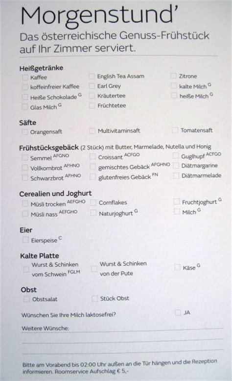 """""""Karte für Frühstück in dem Zimmer"""" Austria Trend Hotel ..."""